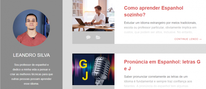 screenshot do site saber espanhol