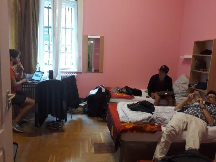 colegas de work exchange no hostel