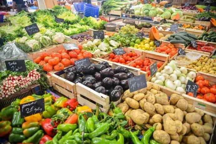 legumes em um mercado