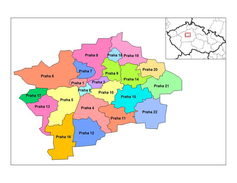 distritos de praga - ilustração do wikimedia commons