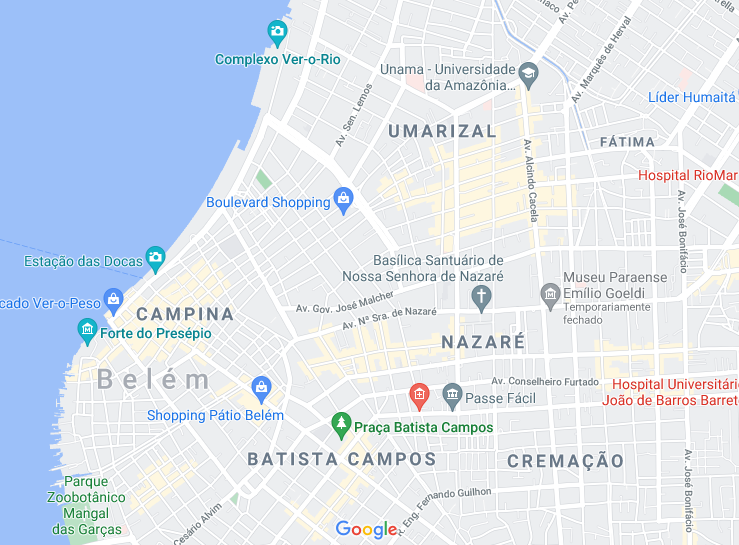 onde se hospedar em belém - mapa do centro